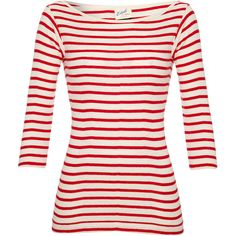 Edith A. Miller Boat Neck Tee Red Stripe found on Polyvore