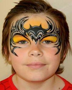 #facepaint design by Peta Rogers tribal batman #facepainting 2nd place Illusion Mag tribal challenge