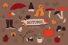 Autumn Clip Art by Pencil Coffee on @creativemarket https://crmrkt.com/7QB8r