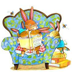 """É que o heroí dos livros de Beatrix Potter é um """"coelhoíde"""", o Peter Rabbit!   Aqui está ele:"""