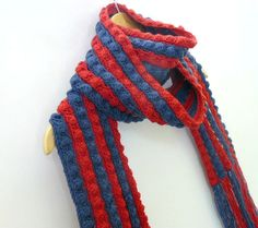 Crochet winter scarf red and blue long knit by GrannyKnowsBest on Etsy
