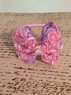 Pink and lavender purple rosette ribbon bow with by DonnaBellaBows, $10.95