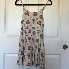 cream floral dress spaghetti strap floral dress Forever 21 Dresses