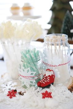 """Hostess with the Mostess®Patricia's (of Patty K Photography) son Ryan wanted a """"snow party"""" for his 7th birthday, so she dreamed up aWhimsical Winter Wonderland Party with snowy,frostydetails! She brought the outdoors in with snowflake decorations, frosty treats and a fun snowman game(wrap each"""