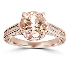 2 CT Morganite & Diamond Vintage Engagement Ring 14K Rose Gold (4.475 VEF) ❤ liked on Polyvore featuring jewelry, rings, accessories, jewelry & watches, diamond engagement rings, round engagement rings, red ring, yellow engagement rings and vintage rose gold ring