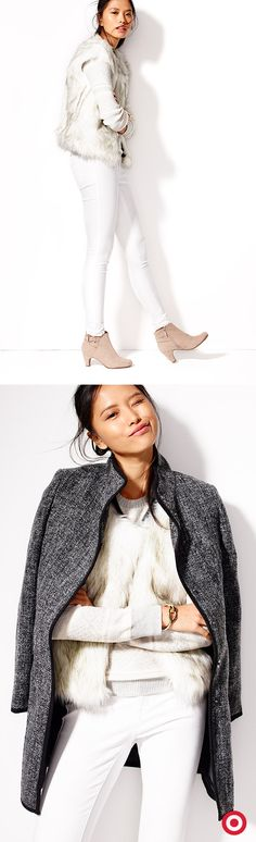 Winter whites—a stylish way to fight the chill! Layer in texture with knit and faux fur, or top things off with a mod coat in always-chic black tweed.