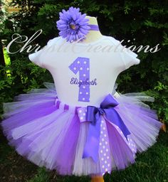 Pretty Purple--1st Birthday Tutu Set--Birthday Party Outfit--Personalized on Etsy, $60.00