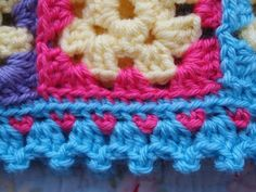 yarnaway: a crochet scrapbook: little heart granny square blanket