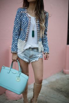 bcca2a31 Tularosa Fringe Jacket // One Teaspoon Distressed Jean Shorts // Asos  Lace-Up Gladiator Sandals // Ray-Ban Blue Aviators // Henri Bendel West  57th Bag ...