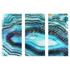 Equally at home in an artful collage or on its own as an eye-catching focal point, this hand-stretched canvas print showcases a geode-inspired motif. Made in...