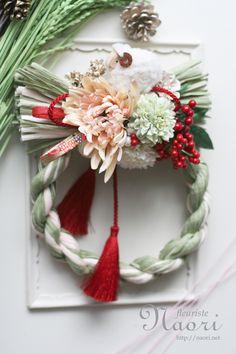 Japanese New Year wreath 2015 お正月 Chinese New Year Flower, Japanese New Year, Candle Arrangements, Floral Arrangements, Japanese Floral Design, Japanese Ornaments, New Years Decorations, Diy Wreath, Ikebana