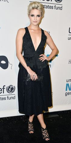 Dianna Agron smoldered at the 2nd Annual UNICEF Masquerade Ball, amping up the drama in a plunging peplum LBD that she styled with a black Swarovski-encrusted Rodo clutch, killer strappy stilettos, and a heavy smoky eye.