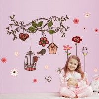 Birdcage Wall Sticker Children Home Decor Cartoon Wall Decal DIY for Kids Room Decal Baby