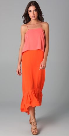 Silk candy and acid orange-colored maxi dress from  kaboodle.com