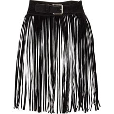 V By Very Fringed Festival Belt ($20) ❤ liked on Polyvore featuring accessories, belts, skirts, acces, black, fringe belt and buckle belt