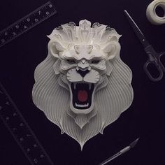 Click for more amazing animals! | Patrick Cabral Explores The Animal Form Through Delicate Layered Papercuts - Lion #paperart