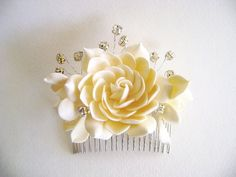 Dark Ivory Champagne Gardenia hair Comb Bridal Hair by parsi