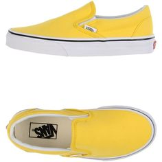 Vans Low-tops & Trainers ($43) ❤ liked on Polyvore featuring shoes, sneakers, yellow, elastic shoes, vans footwear, yellow sneakers, vans shoes and low profile sneakers
