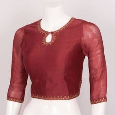 Handcrafted Viscose Cotton Crop Top With Sequin Embroidery & Side Zip 10022223 - Size S - . Saree Jacket Designs, Saree Blouse Neck Designs, Crop Top Designs, Simple Blouse Designs, Designer Blouse Patterns, Sequin Embroidery, Clothes For Women, Kurtis, Fashion Design