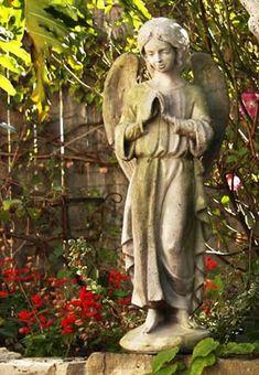 Afriel Angel Outdoor Garden Statue by Orlandi Statuary Made of Fiberstone Angel Garden Statues, Outdoor Garden Statues, Garden Angels, Bird Statues, Hand Statue, Garden Art, Garden Ideas, Outdoor Decor, Outdoor Ideas