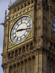 The dial of the Great Clock of Westminster. 'Big Ben' is the nickname given to the great bell inside the tower.