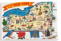 State Map large letter Greetings from New York chrome postcard Map Of New York, New York City, Saranac Lake, Lake George, State Map, Travel Posters, Maps Posters, Park City, Viajes