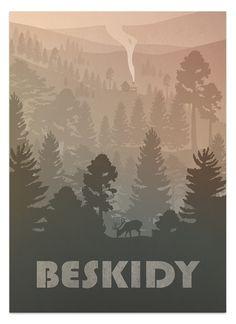 Przedmiotem sprzedaży jest plakat Beskidy - produkt cyfrowy z autorską grafiką wektorową. Wielkość rzeczywista A1 - 59,4 x 84,1 cm. Rozdzielczość 300 ppi. Ppi, Wall Decor, Bright, Badger, Drawings, Owls, Poster, Vintage, Decoration