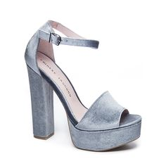 Head over Heels - Chinese Laundry Ace Velvet Platform Sandals Steel. Dress Sandals, Ankle Strap Sandals, Shoes Sandals, Heeled Sandals, Cute Shoes, Me Too Shoes, Wrap Shoes, Velvet Shoes, Platform Shoes