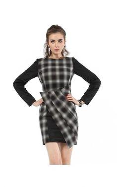 Karen Millen Black Check Shift Dress Womens