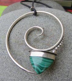 Malachite & Sterling Silver Spiral Pendant by betsyresnick on Etsy. , via Etsy.