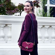 #houseoffraser Its all about the Deep red trend this fall! loving this pic from with our Bordeaux 'Demi' across body bag. Available from @houseoffraser  The Demi is also part of our years worth of bags giveaway comp! Check previous post for full details and make sure to sign up to our campaign (link in bio)
