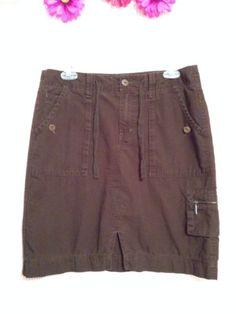 Eddie Bauer Dark Chocolate Brown Cargo 100% Cotton SKIRT Size 6