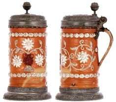 2 - Stoneware stein, 10.6 ht., Altenburger Walzenkrug, c.1740, terra cotta - orange glaze, pearl floral decoration with white and dark red colors, elaborate lid and footring, medallion on lid