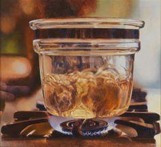 Mary Pratt Pyrex on Gas Flame 1977 Oil on masonite x cm Private collection / photo John Dean Canadian Painters, Canadian Artists, American Artists, Hyperrealism, Photorealism, Mary Pratt, Still Life Art, Mason Jar Wine Glass, Realism Art