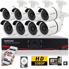 8CH AHD DVR 1080P Outdoor 2MP CCTV Home Surveillance Security Camera System 2TB #SUNCHAN