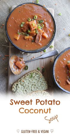 Delicious sweet potato & coconut soup. Naturally gluten-free & vegan. Super healthy deliciousness.