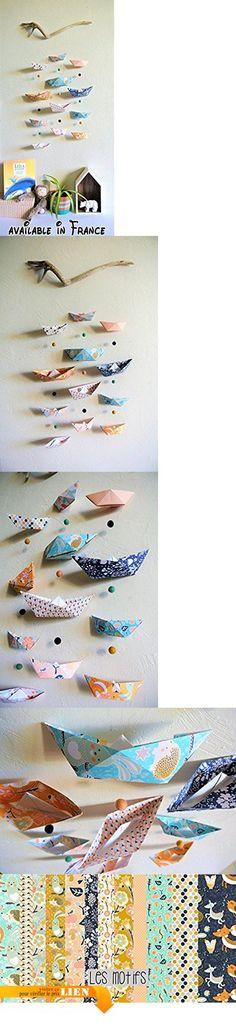 """Mobile mural pour bébés / enfants """"petits bateaux"""" papiers motifs animaux de la forêt.  #Guild Product #GUILD_HOME"""