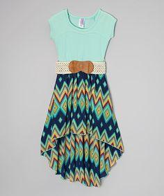 Love this Navy Diamond Belted Hi-Low Dress - Girls by Maya Fashion on #zulily! #zulilyfinds