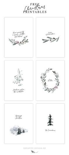 Heute hab ich gleich 6 schicke Weihnachtskarten zum kostenlosen Download für euch!