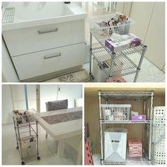 化粧は洗面台で!計画 化粧品収納のインテリア実例