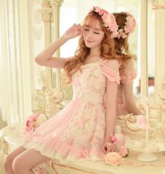 Japanese sweet floral dew shoulder dress