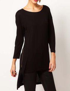 Side Zippers Design High Low Hem Sweatshirt