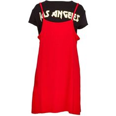 2 In 1 Red Slogan T Shirt and Slip Dress (70 ILS) ❤ liked on Polyvore featuring dresses