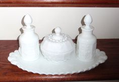 This item is unavailable Glass Vanity, Vanity Set, Fenton Milk Glass, Westmoreland Glass, Antique Vanity, Carnival Glass, Glass Collection, Crystals, Vintage Stuff