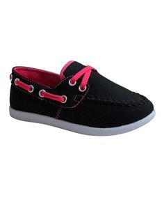 Loving this Black & Fuchsia Boat Shoe on #zulily! #zulilyfinds