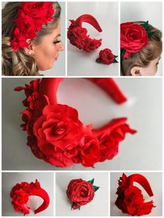Red flower halo crown for wedding made from bright red fabric with in tone flowers and leaves. Flower headpiece has a collection of roses and leaves to the right side. They are sewn on the flower fasc Halo Headband, Fascinator Headband, Flower Headpiece, Fascinators, Wide Headband, Flower Hair Clips, Flowers In Hair, Red Flowers, Fabric Flower Brooch