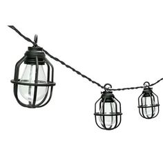 Paradise black caged edison lantern string lights in a vintage design. The Paradise Edison Lantern String Lights are great to hang around patios, at beer gardens, or from awnings for a vintage look. The light set features 10 warm white LED light bulbs. Lantern String Lights, Patio String Lights, Led Lantern, White Led Lights, Globe Lights, String Lighting, Light String, Paper Lantern, Light Led