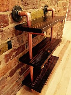 Products Reclaimed Wood and Copper Pipe Shelf, Handmade, Industrial Your Own Home Interior Ideas 200 Copper Pipe Shelves, Diy Pipe Shelves, Wood Shelves, Display Shelves, Shelving, Copper Pipes, Display Ideas, Copper Furniture, Pipe Furniture