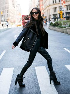 ShopStyle Look by somethingnavy featuring H&M Oversized Biker Jacket - Black/faux fur - Women and H&M Mock-turtleneck Sweater H&m Fashion, Daily Fashion, Fashion Outfits, Fashion Tips, Fashion Styles, Cute Skirt Outfits, Cute Skirts, Cold Weather Outfits, Winter Outfits