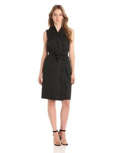 Anne Klein Women's Wrap Dress, Black, 10
